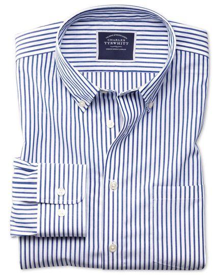 Bügelfreies Slim Fit Popeline-Hemd in Blau mit Streifen