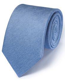 Mid blue silk mix classic plain tie