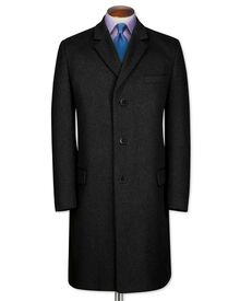Slim fit charcoal wool and cashmere overcoat