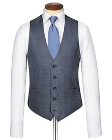Light blue sharkskin travel suit vest