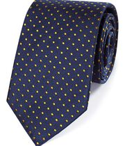Navy and gold silk small spot classic tie