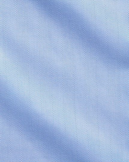 Slim fit spread collar non-iron herringbone sky blue shirt