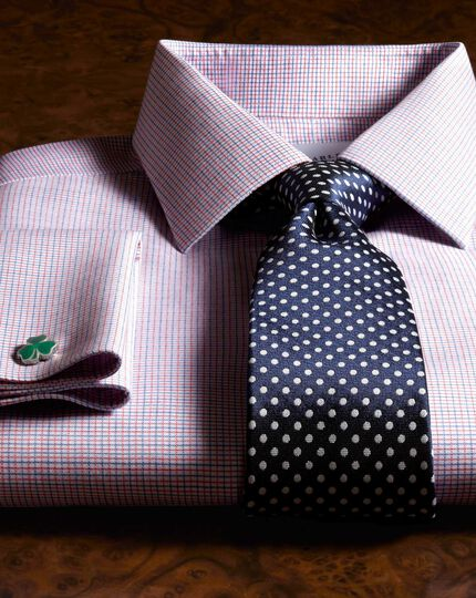 Navy and white silk classic Oxford spot tie