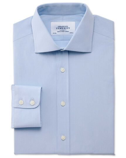 Slim fit semi-spread collar stretch sky blue shirt