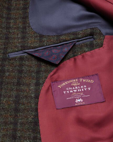 Slim fit green and navy check luxury British tweed jacket
