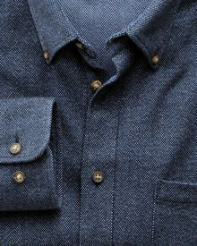 Slim Fit Hemd aus Donegal in dunkelblau
