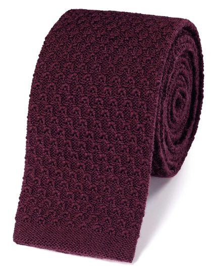 Slim burgundy wool knitted classic tie