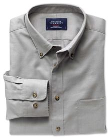 Classic fit grey non-iron twill shirt