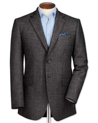 Classic fit grey birdseye lambswool jacket