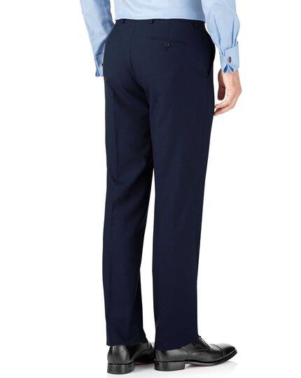 Classic Fit Panama-Businessanzug Hose in indigoblau mit Hahnentrittmuster