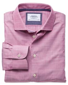 Extra slim fit semi-cutaway collar business casual slub cotton pink shirt