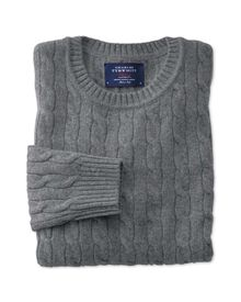 Grey lambswool cable knit crew neck sweater