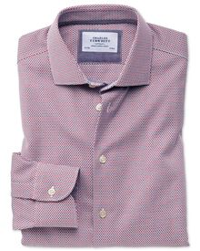 Slim fit semi-cutaway business casual non-iron modern textures red and blue shirt