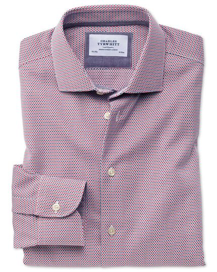 Extra slim fit semi-cutaway business casual non-iron modern textures red and blue shirt