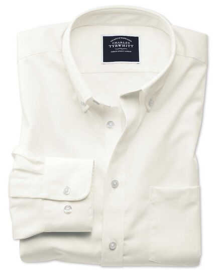 Slim fit non-iron twill off-white shirt