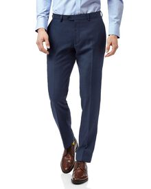 Blue slim fit twill business suit trouser