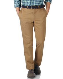 Tan slim fit flat front chinos