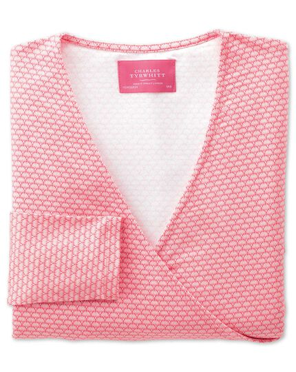 Women's coral shell printed jersey wrap top