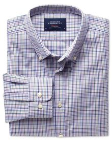 Extra slim fit non-iron poplin green and pink check shirt