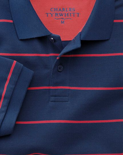 Classic fit blue and pink striped pique polo