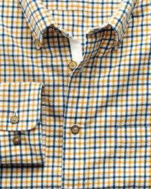 Classic fit gold and blue check brushed dobby shirt