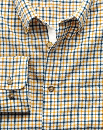 Extra slim fit gold and blue check brushed dobby shirt