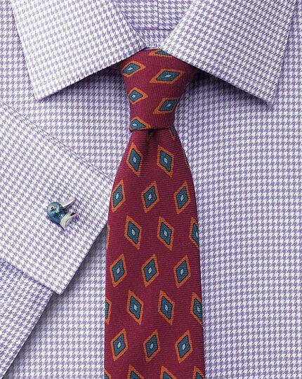 Pink luxury wool diamond print slim tie