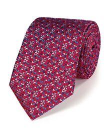Red silk luxury micro triangle geometric tie
