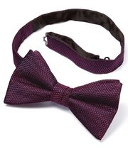 Purple silk plain classic bow tie