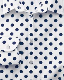 Women's semi-fitted spot print white and navy shirt