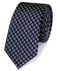 Navy and white silk slim diamond neat classic tie