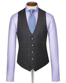 Charcoal sharkskin travel suit waistcoat