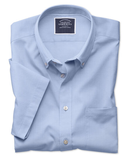 Slim fit sky blue short sleeve washed Oxford shirt
