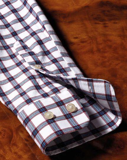 Extra Slim Fit Oxfordhemd in Weiß und Blau mit Karos
