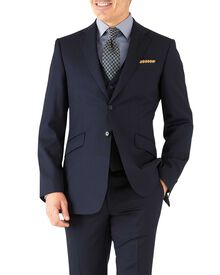 Navy herringbone slim fit Italian suit jacket