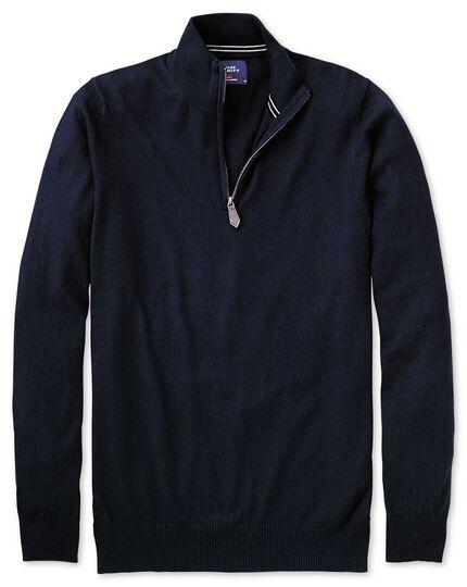 Navy cotton cashmere zip neck sweater