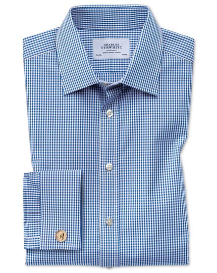 Classic fit small gingham navy blue shirt