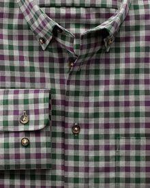 Bügelfreies Classic Fit Hemd aus Twill in weinrot und grün mit Karos