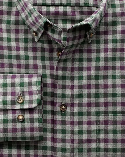 Slim fit non-iron twill wine and green check shirt