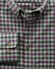 Bügelfreies Extra Slim Fit Hemd aus Twill in Weinrot und Grün mit Karos