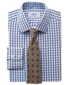 Slim fit non-iron Oxford gingham mid blue shirt