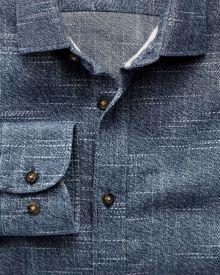 Classic fit slub cotton blue and white shirt