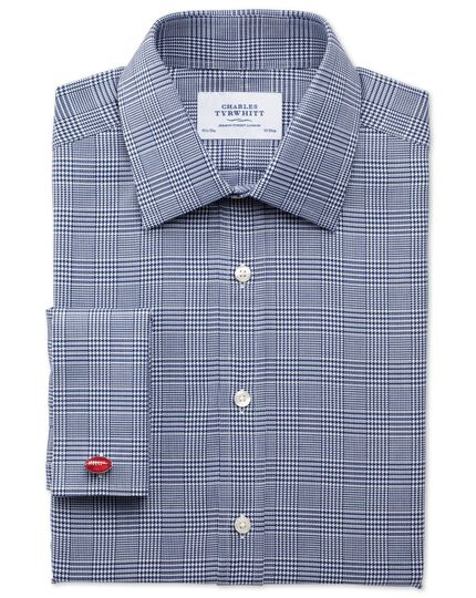 Classic fit Prince of Wales royal twill navy shirt