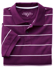 Purple and white stripe pique polo