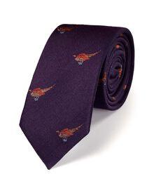 Purple classic pheasant slim tie