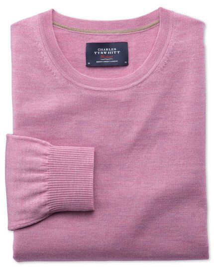 Light pink merino wool crew neck sweater