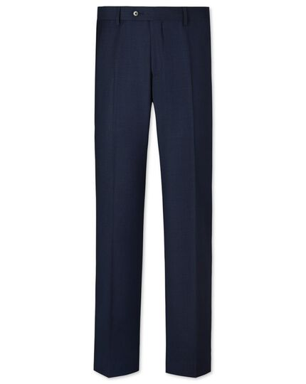 Navy slim fit sharkskin business suit trousers