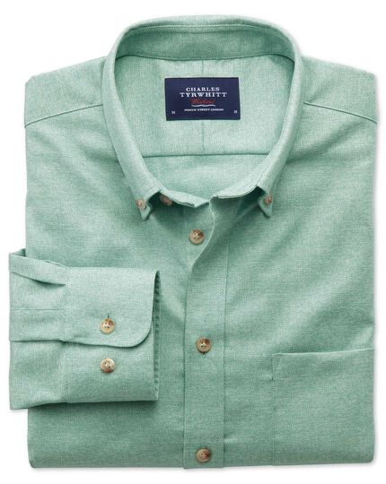 Slim fit non-iron twill light green shirt