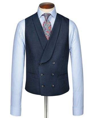 Blue adjustable fit British Panama luxury suit waistcoat