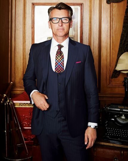 Slim Fit Luxusanzug Hose aus Yorkshire-Gewebe in marineblau mit Hahnentrittmuster